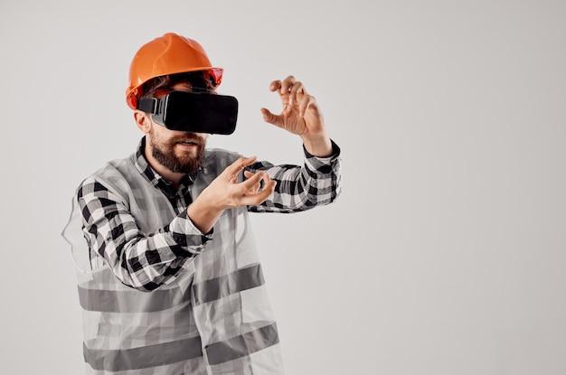 Fondo isolato di progettazione di tecnica del lavoro di costruzione del lavoratore maschio