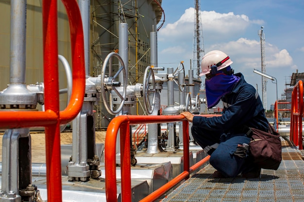 Conduttura visiva di ispezione del lavoratore maschio e gasdotto del vapore del tubo della valvola