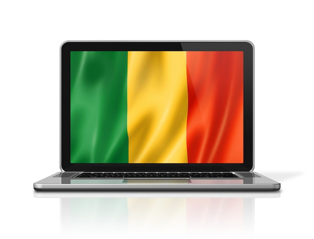 Bandiera del mali sullo schermo del computer portatile isolato su bianco. rendering di illustrazione 3d.