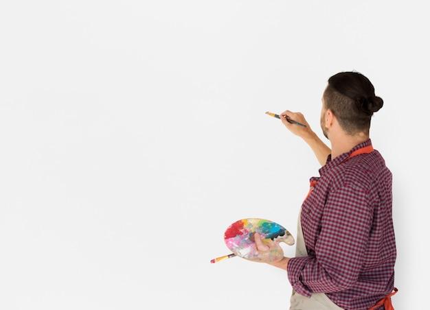 Studio di spazzole della tavolozza dell'illustrazione della pittura dell'artista dell'uomo
