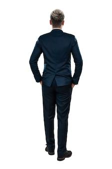 Uomo in giacca e cravatta, vista posteriore dell'uomo d'affari