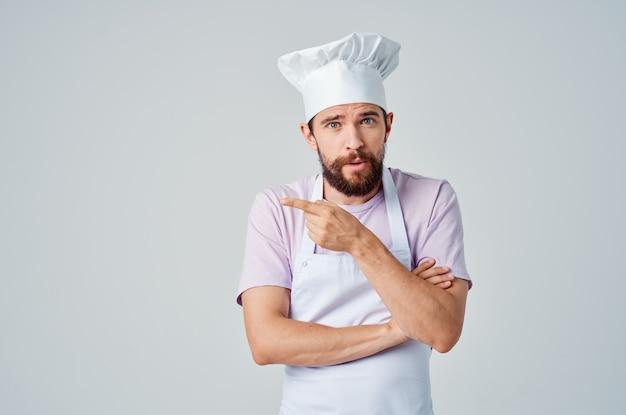 Uomo chef uniforme emozioni lavoro professione servizio. foto di alta qualità