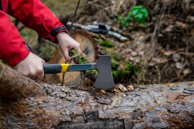 Uomo che taglia un ramo di un albero con un'ascia nella foresta durante un viaggio in campeggio