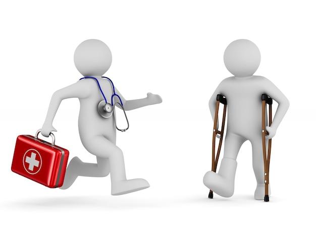 Uomo con le stampelle e dottore. illustrazione 3d isolata