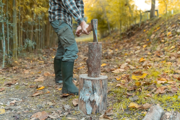Uomo tagliato con ascia polvere e movimenti taglialegna seghe albero con motosega su segheria lumberjack