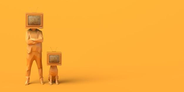 Uomo e cane con un vecchio televisore invece di una testa controllo dei mass media copia spazio