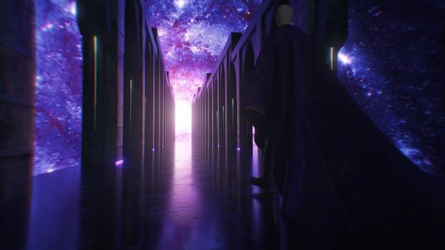 Un uomo vestito di stoffa che cammina lungo un corridoio di fantascienza spaziale con illuminazione al neon. lascia che il pianeta terra. fantastico concetto del futuro. il concetto di cognizione umana dello spazio. animazione 3d
