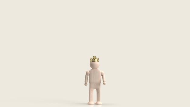 L'uomo figura giocattolo in legno e corona