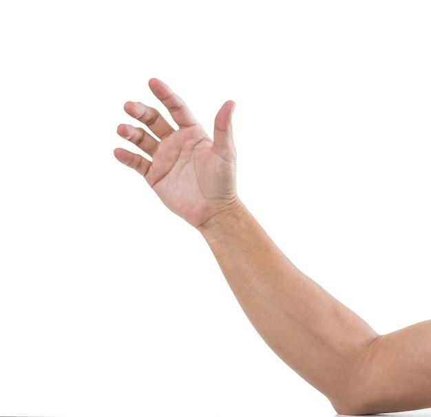 Mano dell'uomo isolato sulla superficie bianca