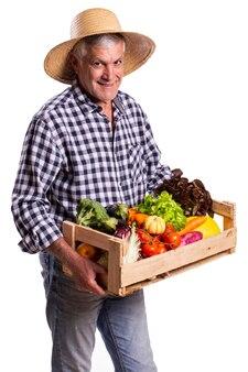 Uomo che tiene il cesto con sane verdure biologiche su sfondo bianco.