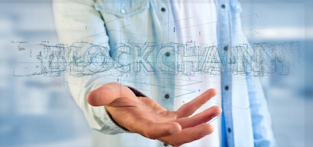 Uomo che tiene un titolo blockchain isolato