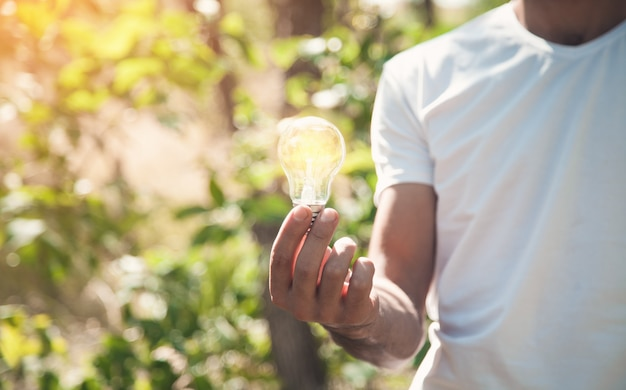 Uomo che tiene la lampadina in natura. energia verde