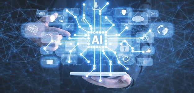 Computer della compressa della tenuta dell'uomo. ai sul circuito. intelligenza artificiale. tecnologia dell'informazione moderna