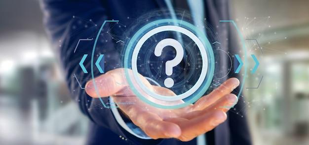 Equipaggi la tenuta dell'icona del punto interrogativo della tecnologia su un cerchio