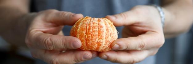 L'uomo tiene tra le mani pelato intero mandarino. vantaggi agrumi durante contenere. proprietà vitaminiche mandarino nella lotta contro le infezioni. mangiare sano . menu vegano