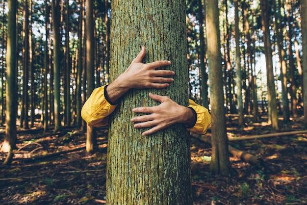Uomo che abbraccia la corteccia di albero
