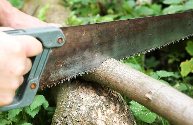 L'uomo sta segando tronchi all'aperto. funziona con legno nel villaggio.