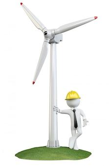 Uomo appoggiato a una turbina eolica