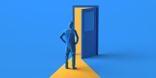 Uomo che guarda la porta aperta. copia spazio. illustrazione 3d.