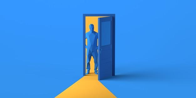 Uomo che guarda attraverso la porta aperta. copia spazio. illustrazione 3d.