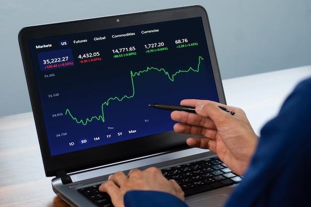 L'uomo punta sullo schermo il grafico digitale che fa trading online a casa