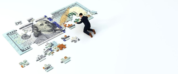 Uomo che mette insieme un pezzo di puzzle del dollaro. concetto di affari, rendering 3d