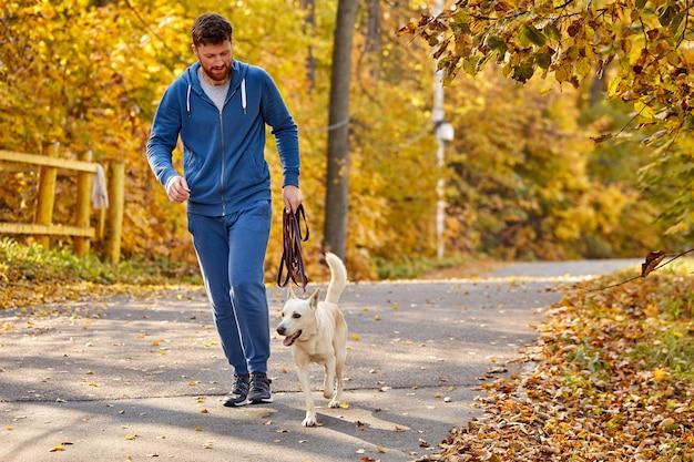 Uomo che corre con cane da compagnia nella foresta di autunno, ragazzo piace fare jogging con il cane di razza bianca nella natura