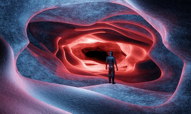 Un uomo con un costume da cosmonauta fantascientifico entra, da una caverna aliena, rendering 3d