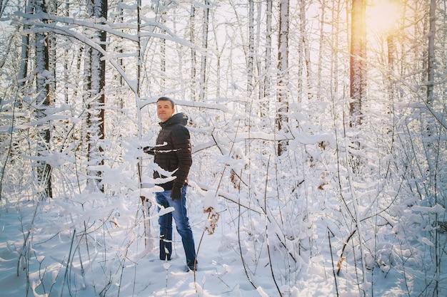 L'uomo scuote l'albero per fare nevicate nella foresta innevata di inverno in una giornata di sole.