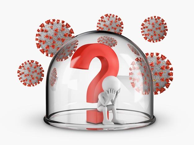 Un uomo siede sotto un punto interrogativo coperto da una cupola di vetro, attorno alla quale volano i coronavirus