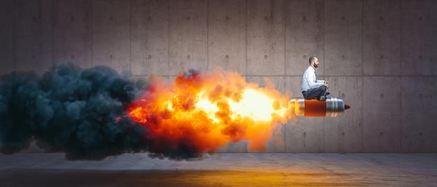 Uomo seduto su un razzo con fiamme e fumo. concetto di successo e determinazione.