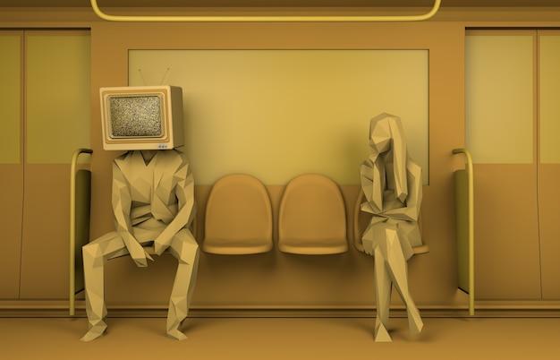 Uomo seduto su un treno con un vecchio televisore al posto della testa e una donna che guarda lo spazio della copia