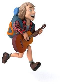 Uomo solista in viaggio zaino in spalla 3d illustrazione