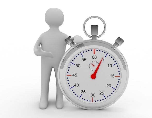 Uomo e cronometro. illustrazione 3d