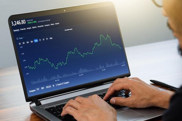Uomo che utilizza il computer che fa trading online a casa borsa del commercio online