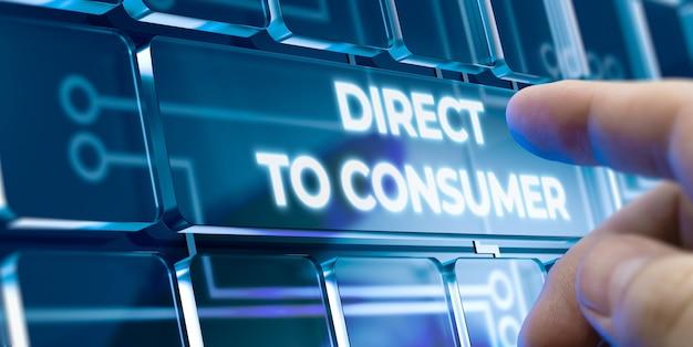 Uomo che utilizza un sistema diretto al consumatore premendo un pulsante sull'interfaccia futuristica