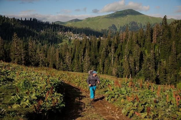 Equipaggi la camminata sulla strada non asfaltata con l'escursione lo zaino e bastoni nei precedenti delle colline coperte di alberi
