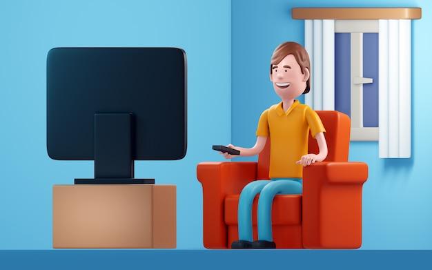 L'uomo guarda la televisione. illustrazione 3d