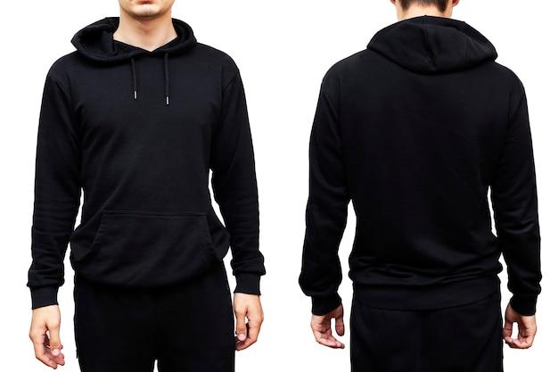 Uomo che indossa felpa con cappuccio nera, isolato su sfondo bianco. vista frontale e posteriore.