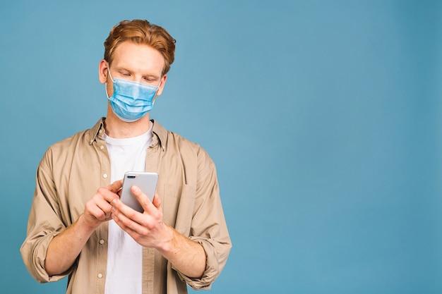 Uomo che indossa una maschera igienica, malattie respiratorie trasmesse per via aerea come l'influenza, 2019-ncov