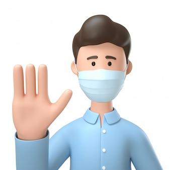 Equipaggi indossare la maschera medica e la rappresentazione del gesto di mano di arresto