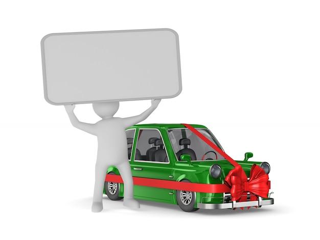 Uomo con banner e auto verde su uno spazio bianco. illustrazione 3d isolata