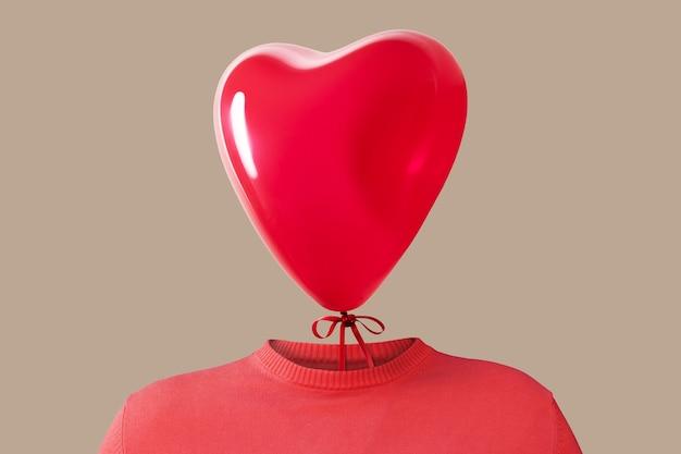 Un uomo con un palloncino a forma di cuore al posto della testa