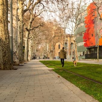 Uomo con il suo cane boxer cammina nel parco.