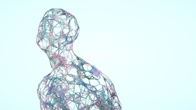 Uomo con linee che possono essere utilizzate in presentazioni tecnologiche astrazione umana biologica