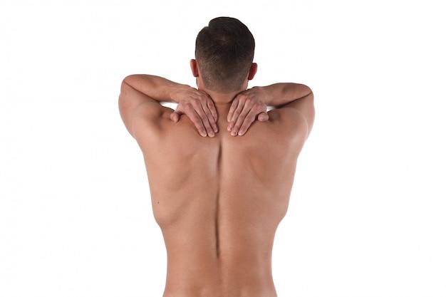 L'uomo con dolore si aggrappa al mal di collo