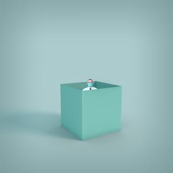 Uomo con maschera protettiva in una scatola da solo. concetto di isolamento e prevenzione per covid-19