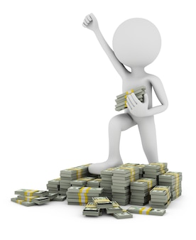 Un uomo con la mano alzata sta in piedi su mucchi di soldi.