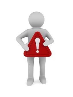Uomo con triangolo rosso e punto esclamativo su bianco
