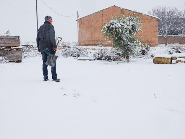 Uomo con pala per rimuovere la neve dal sentiero dopo una tempesta di neve. concetto invernale